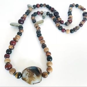 Jewelry - One of a kind wood and gemstone long necklace
